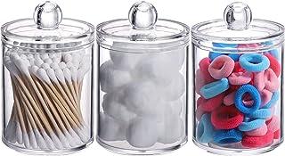3 Plastic Cotton Swab Ball Pad Holder, Qtip Jar Clear Makeup Organizer, Bathroom Containers Individual Dispenser