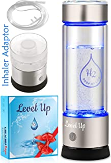 LevelUpWay - Hydrogen Water Bottle Generator - New Technology Glass Water Ionizer - SPE Ionic Membrane - High Borosilicate Glass 13 Ounce