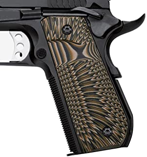 Cool Hand 1911 Full Size Slim G10 Grips, Bobtail Round Butt, Big Scoop, 3/16 Thin, Ambi Safety Cut, Sunburst/Ridges Texture, These Grips Only Work with Short Bushings