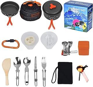 Outtybrave 17Pcs Kit de Acampar Utensilios,portátil de