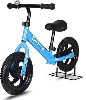 ペダルなし自転車 キックバイク バランストレーニングバイク 子供用自転車 ストライダー 乗用玩具 子供用 幼児用 キッズ用 高炭素鋼製 ハンドルとサドルの高さ調整可能 ベルとスタンド付き EVAタイヤ 組み立て簡単 コンパクトで軽量 収納・持ち...