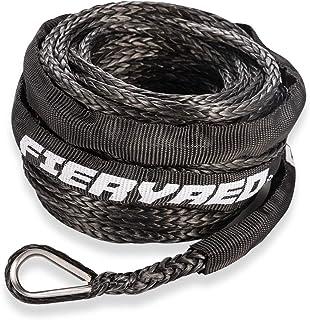 Cuerda de cabrestante sintética 3/16 pulgadas x 50 pies – 8200 Ibs cuerda de cabrestante con funda protectora para vehícul...