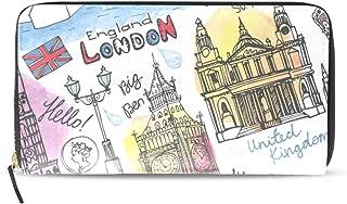 旅立の店 長財布 人気 レディース メンズ 大容量多機能 二つ折り ラウンドファスナー PUレザー  落書き 手描き ロンドン ウォレット
