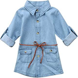 BiggerStore أزياء أطفال طفل فتاة نصف / طويلة الأكمام الدنيم تونك جين قميص فستان مع حزام للبنات 1-5T