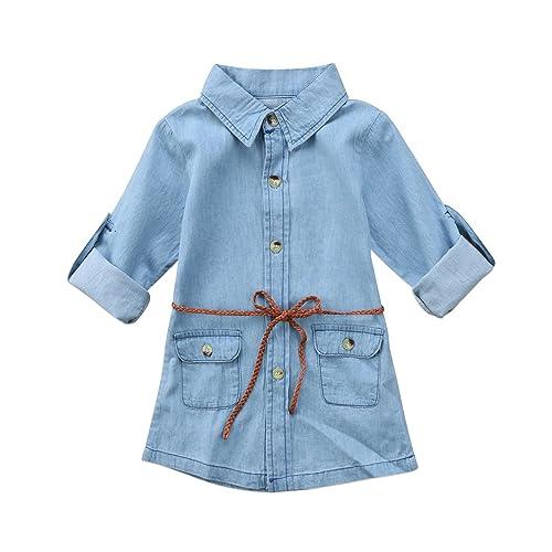 0182530fb98 BiggerStore Fashion Kids Toddler Baby Girl Half Long Sleeve Denim Mini Dress  with Belt 1