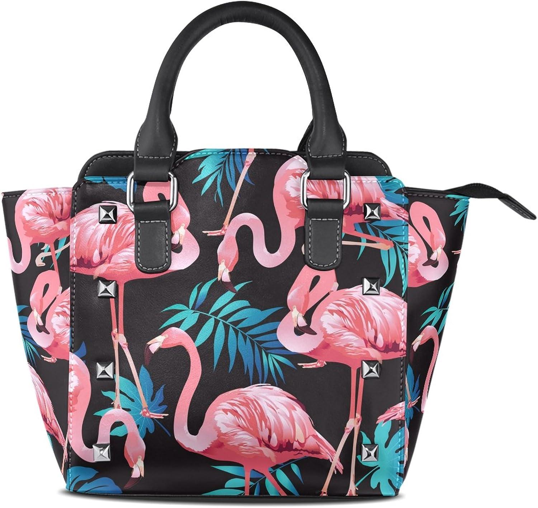 My Little Nest Women's Top Handle Satchel Handbag Flamingo Bird and Tropical Flowers Ladies PU Leather Shoulder Bag Crossbody Bag