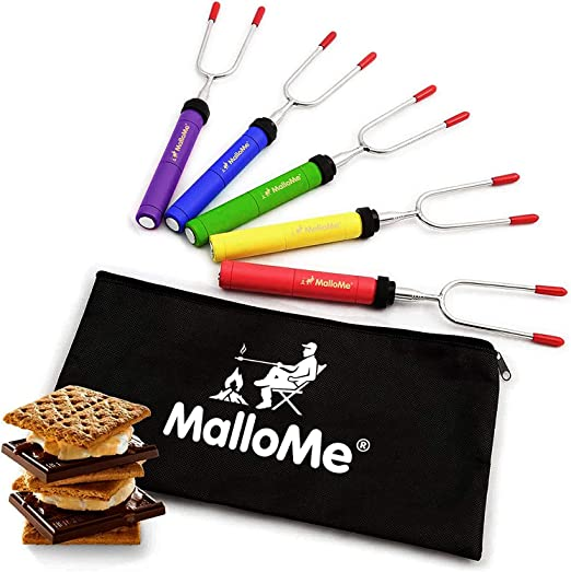 MalloMe Premium Marshmallow Roasting Sticks Set of 5 Smores Skewers & Hot Dog Fork 34 Inch Rotating Extending Patio Fire Pit Camping Cookware Campfire Cooking Kids Accessories – Bonus Bag & ...