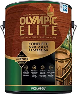Olympic Stain 80113-1 Elite Woodland Oil Stain, 1 Gallon, Mahogany Blaze
