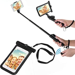 Andoer Waterproof Dry Bag Cell Phone Pouch Case & Extendable Selfie Stick with BT Remote Control Lanyard for Beach Swimmin...