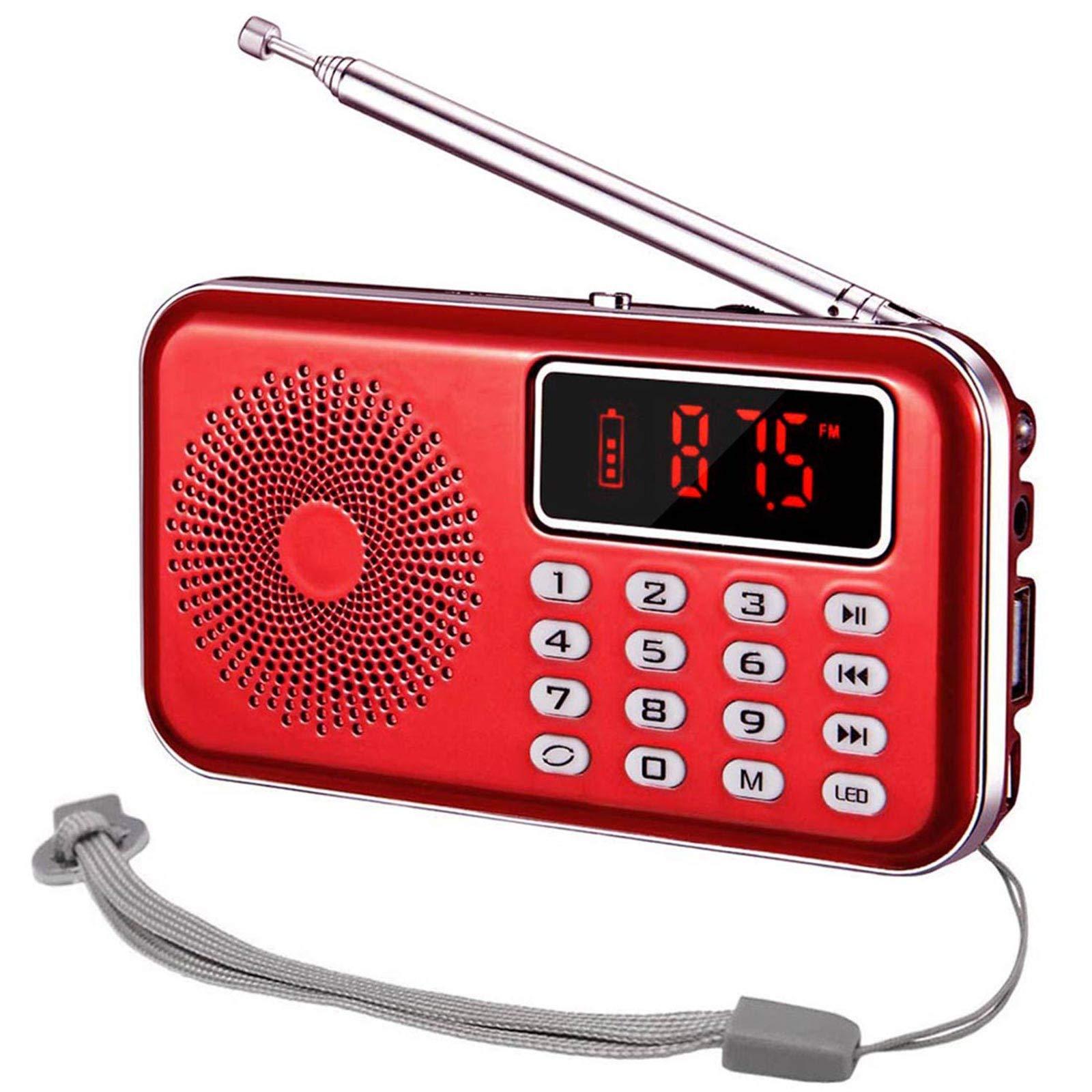 iMinker Mini Radio portátil Digital Am/FM Speaker MP3 Player Soporte TF Tarjeta/USB con Pantalla LED, Linterna, Batería Recargable, Auriculares Jack (Rojo): Amazon.es: Electrónica