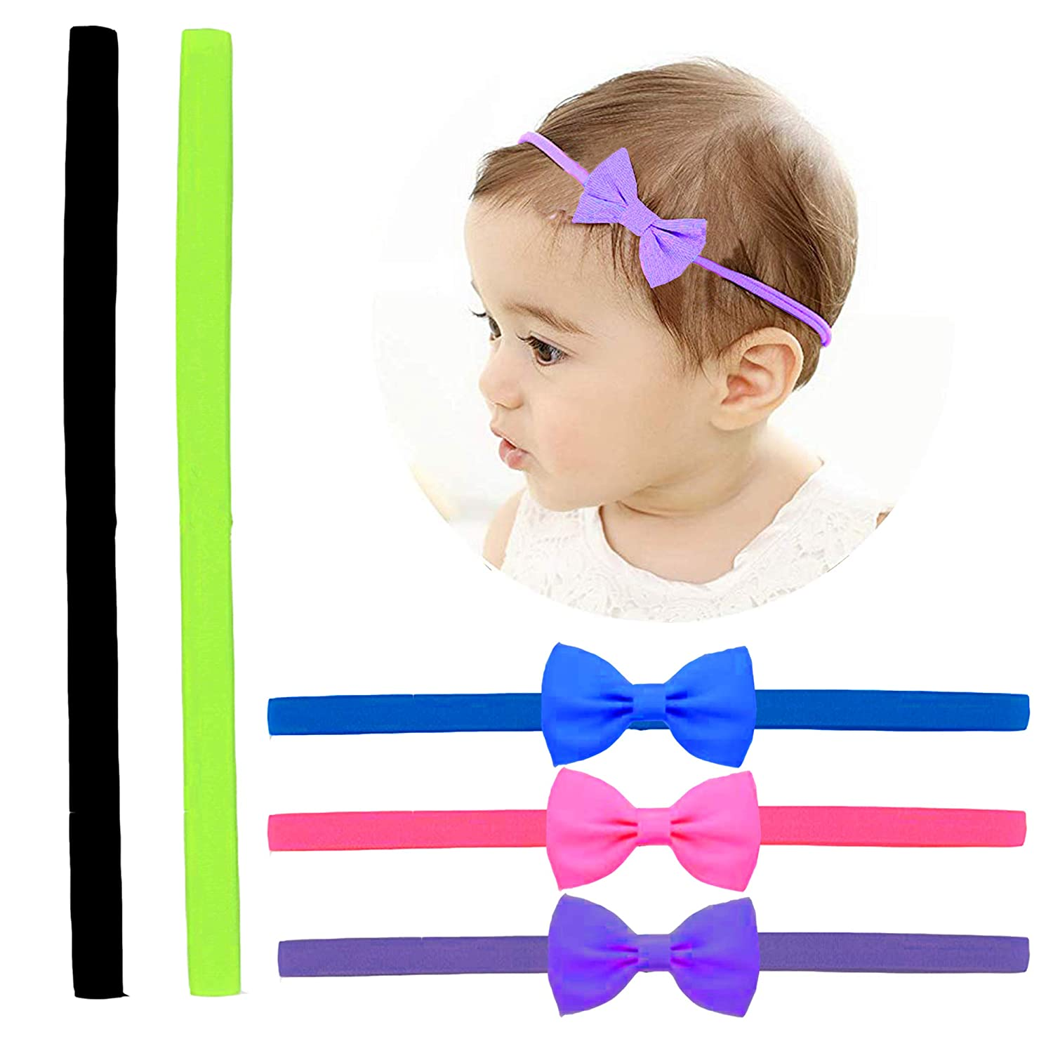 Tiny Hair Bows Head Wrap for Baby Girls Infant ~ 5 Piece Toddler Bow Head Wrap (Bright)