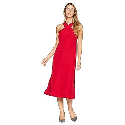 Maggy London Twist Neck Dream Crepe Midi Dress (Cranberry) Women