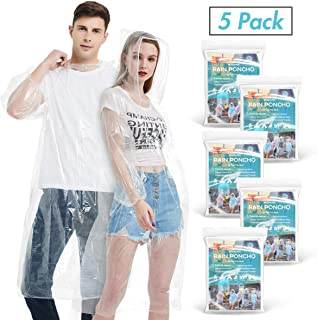 Newbyinn Disposable Rain Ponchos for Adults(5 Pack) | Emergency Drawstring Hood Poncho in Bulk | Extra Thick, Waterproof 0.035mm PE Plastic Material for Disney, Travel, Concerts, Camping