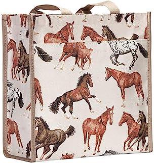 Running Horse Tan Shopper Bag by Signare/Womens Recycling Fabric Reusable Foldaway Shoulder Tote/SHOP-RHOR
