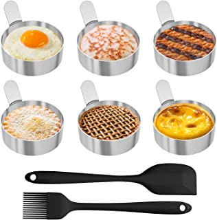 Egg Ring, Ozera 6 Pack Egg Pancake Mold, Fried Egg Pancake Rings, 3 Inch Stainless Steel Omelet Mold, Metal Cooking Round Pancake Egg Mold Ring Kitchen Cooking Tool, with Spatula and Silicone Brush