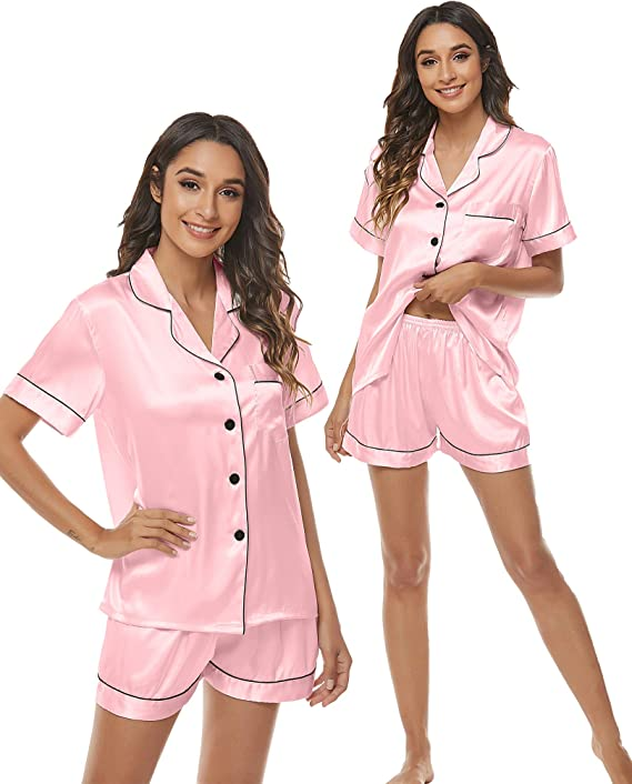 Eilshoji Pajamas for Women - 2 Piece Soft Tops & Bottoms Silk Satin Sleepwear Pj Lounge Set