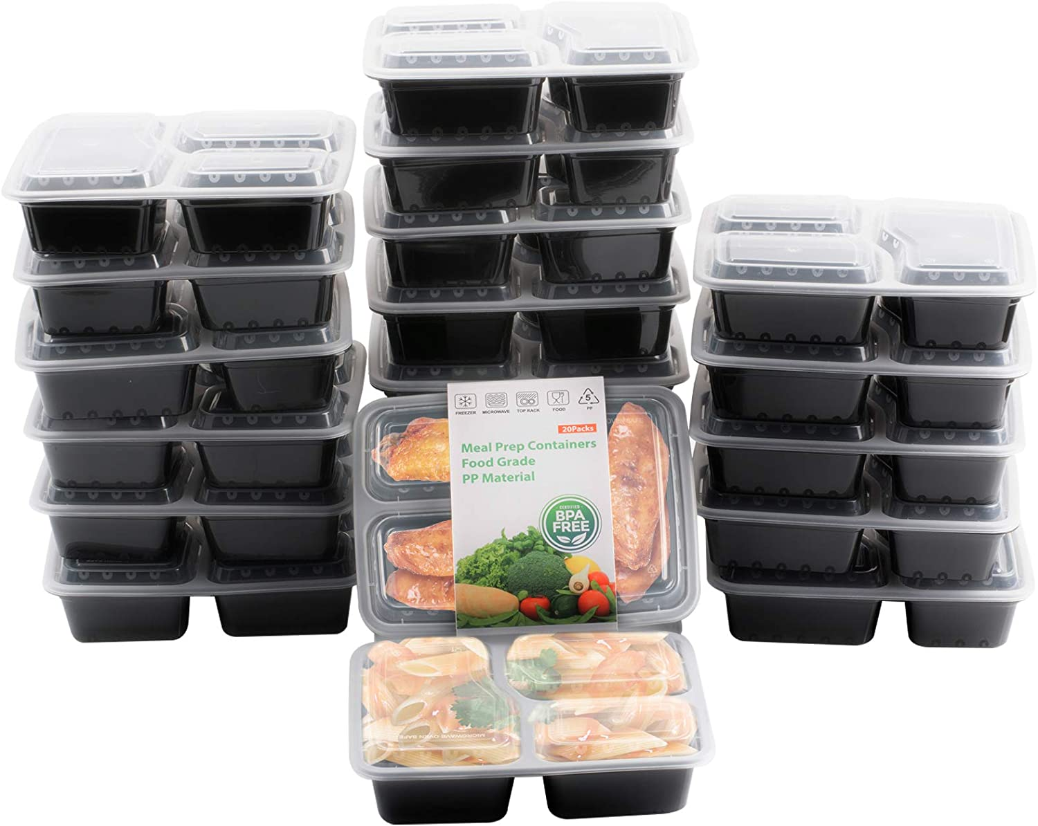 Pinshion 20 Pack Meal Wholesale Prep Containers 10 Bento Outlet sale feature Box Compartment 3