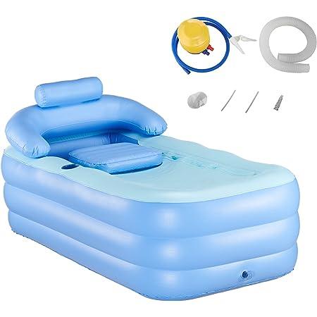 Z ZELUS Baignoire Gonflable pour Adulte Homme, Baignoire Gonflable Pliable en PVC pour SPA Confortable, Piscine Anti-glisse pour Enfants Bébé, 160 x 82 x 75 cm