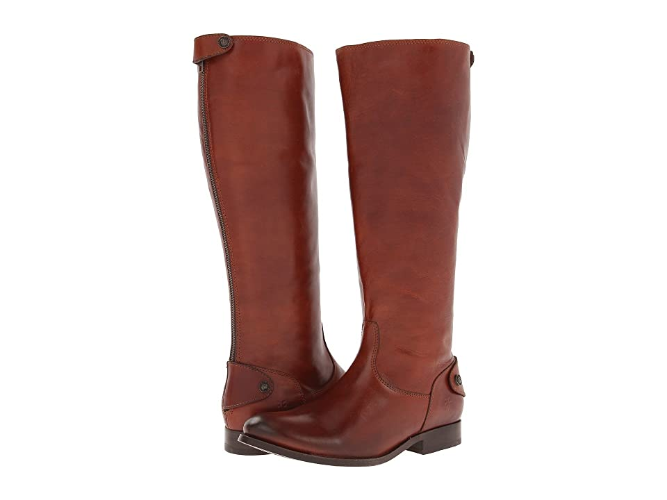Frye Melissa Button Back Zip Extended (Cognac Extended Soft Vintage Leather) Cowboy Boots