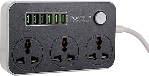Powerup stay charged® Dockit with 3 Universal Sockets & 6 USB Port of 3.4Amp Fast Charging Station and Power Extensio...