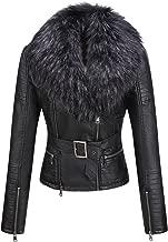 Bellivera Women's Faux Leather Short Jacket, Moto Jacket with Detachable Faux Fur Collar