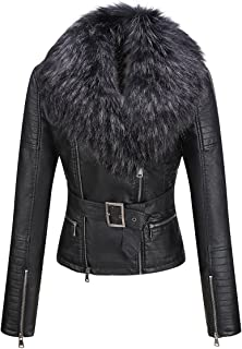 Bellivera Women's Faux Leather Short/Long Jacket, Moto Jacket with Detachable Faux Fur Collar