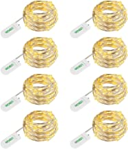 LEDGLE LED Starry String Lights Copper Wire 36 LEDs Mood Lights 11.8ft Waterproof Starry Fairy Lights for Party Wedding Holiday Decoration, Battery Powered(Included), Warm White, 8 Packs