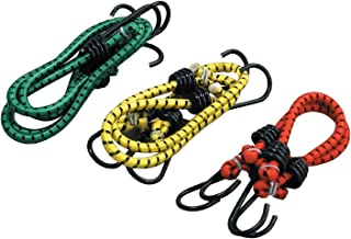 AQBAH High Strength Elastic Bungee/Shock Cord Luggage Tying Rope with Hooks (Multicolour) -Set of 3