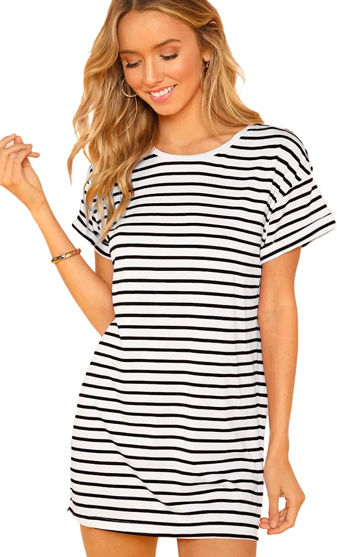 SheIn Women's Casual Loose Striped Mini Dress Short Sleeve T-Shirt Dresses