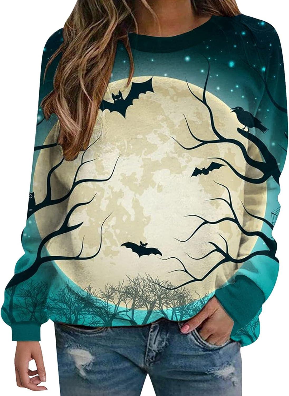 Womens 3D Halloween Bat Diamond Print Sweatshirt Crewneck Long Sleeves Pullover Blouse Winter Shirts