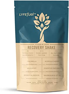 Post-Workout Recovery Shake by LYFE Fuel | All-in-One Sports Nutrition Drink for Rapid Muscle Replenishment | 25g Plant Based Protein Powder + Essential Amino Acids & Key Nutrients (Vanilla - 1 lb)