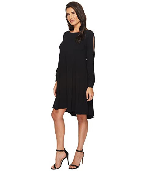 Best Seller Cheap Online 2018 Unisex Cheap Price Mod-o-doc Cotton Modal Spandex Jersey Split Sleeve Swing Dress with Lace Trim Black Big Discount Cheap Price SDFzUMgVuu