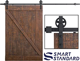 SMARTSTANDARD 10FT Heavy Duty Sliding Barn Door Hardware Kit, Double Rail, Black, Smoothly and Quietly, Simple and Easy to Install, Fit 60
