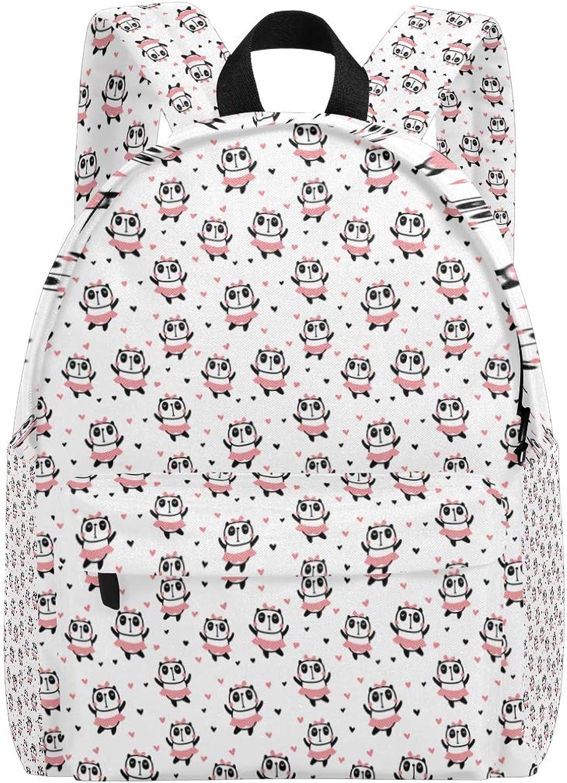 College Bookbag Cute Pandas with Pink Heart Print Schoolbag Unisex Backpack Hiking Daypacks Travel Sports Bags