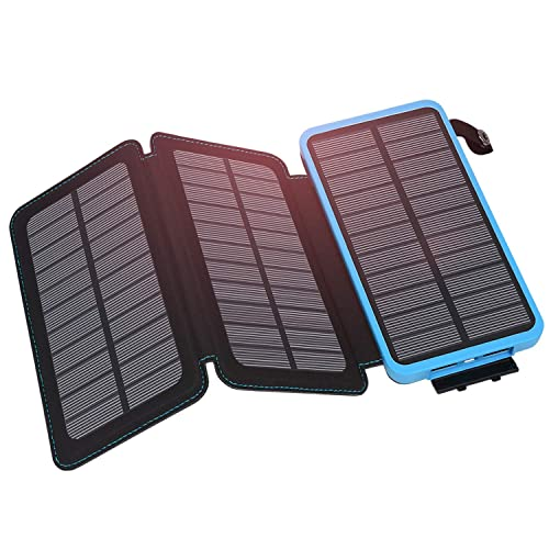 Solar Charger 24000mAh Hiluckey Portable Power Bank with Dual USB 2.1A Output Waterproof Battery Pack for iPhone, Samsung, ipad and ALL Smartphone Outdoor Camping