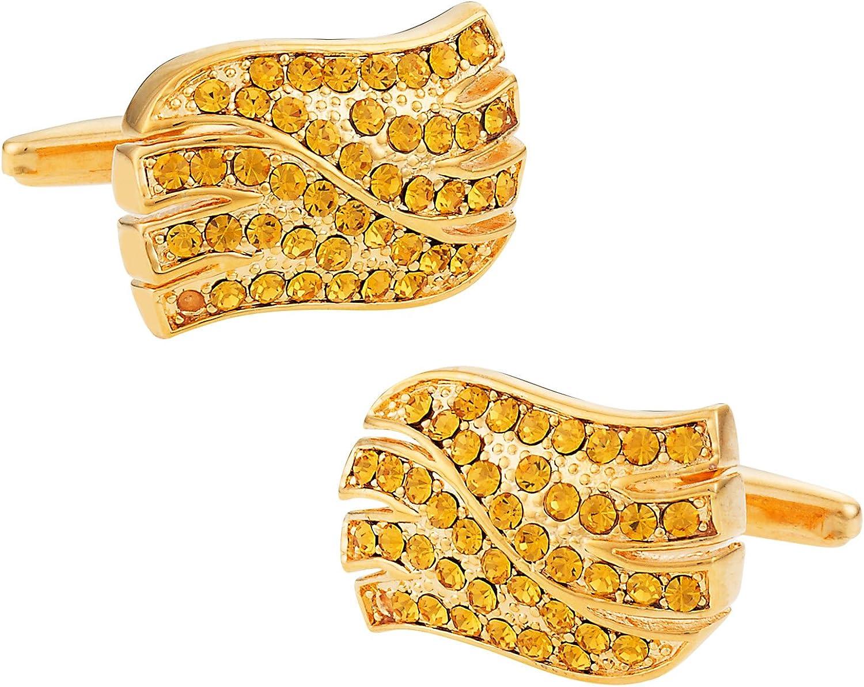 Cuff-Daddy Light Topaz Crystal Wave Goldtone Cufflinks with Presentation Box
