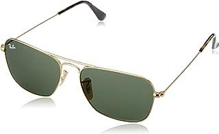 RAY-BAN RB3136 Caravan Square Sunglasses, Gold/Green, 55 mm
