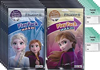 Disney Frozen 2 Grab and Go Play Packs Bundle (12 Packs) Party Favors and 12 Thank You Cards