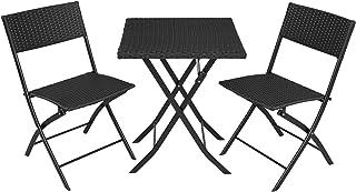 comprar comparacion TecTake 800700 Conjunto de Ratán, 2 Sillas 1 Mesa, Plegable y Compacto, Protección UV, Ideal para Jardín Exterior Interior...