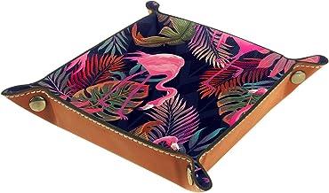 KAMEARI Skórzana taca tropikalne liście wzór różowy flaming klucz telefon moneta pudełko skóra bydlęca taca na monety prak...