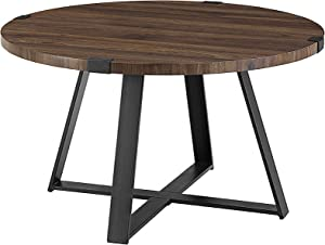 WE Furniture Industrial Urban Round Coffee Table, Metal Legs and Laminate Top for Living Room or Home Office, Dark Walnut, One Size