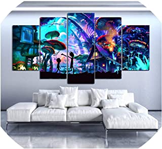 Cold Rain-prints Modular Canvas Wall Art Pictures 5 Pieces Rick and Morty Paintings Living Room Printed Animation Posters Home Decor Framework,20x35 20x45 20x55cm,Frame