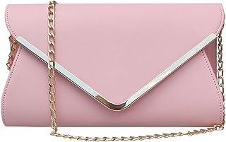 f7e817f436a0 Womens Faux Leather Envelope Clutch Bag Evening Handbag Shouder Bag  Wristlet Purse With Chain Strap.