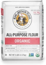 King Arthur Flour 100% Organic Unbleached All-Purpose Flour, 5 Pound (Pack of 6)