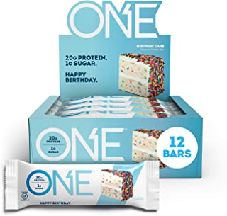 ONE Protein Bars, Birthday Cake, Gluten Free Protein Bars with 20g Protein and only 1g Sugar, Guilt-Free Snacking for High...
