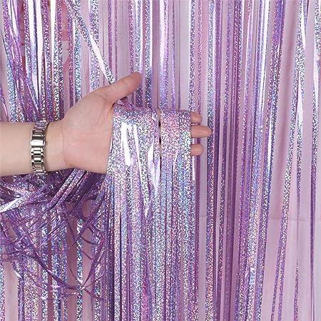 Dsaren 2 Packung Folie Vorhang Lametta Hintergrund Fransen Vorhänge Foto Booth Deko Für