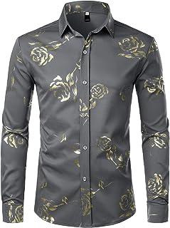 ZEROYAA Mens Hipster Gold Rose Printed Slim Fit Long Sleeve Dress Shirts/Prom Performing Shirts