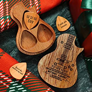 SOUFEEL Personalized Wooden Guitar Pick Box Engraved Your Name Guitar Standard Picks Acoustic Electric Bass Guitar Ukulele...