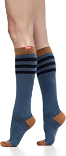 VIM & VIGR Women's 15-20 mmHg Compression Socks: Rugby Stripe - Evening & Camel (Cotton) (Small)