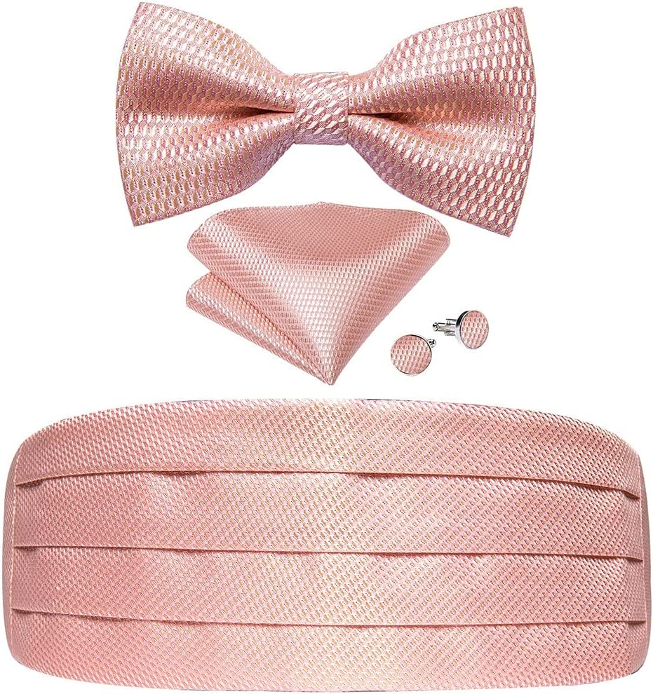 ZYKBB Pink Solid Men Cummerbund Bow Tie Pocket Square Cufflinks Set Men Tuxedo Suit Accessories Elastic Belts For Men (Color : C, Size : One size)